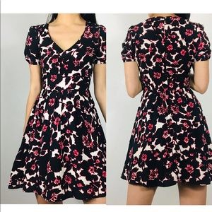 TopShop floral print v neck mini dress